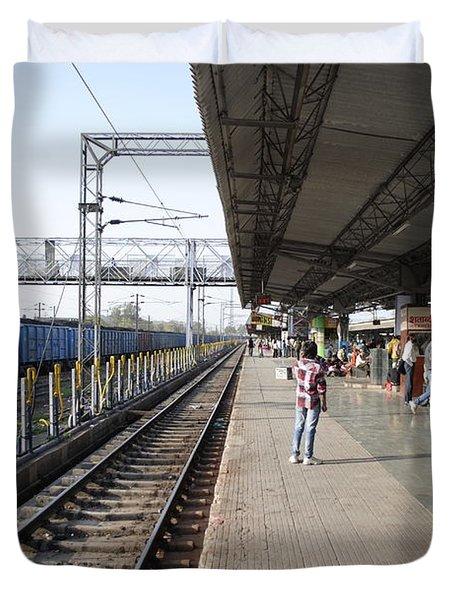 Indian railway station Duvet Cover by Sumit Mehndiratta