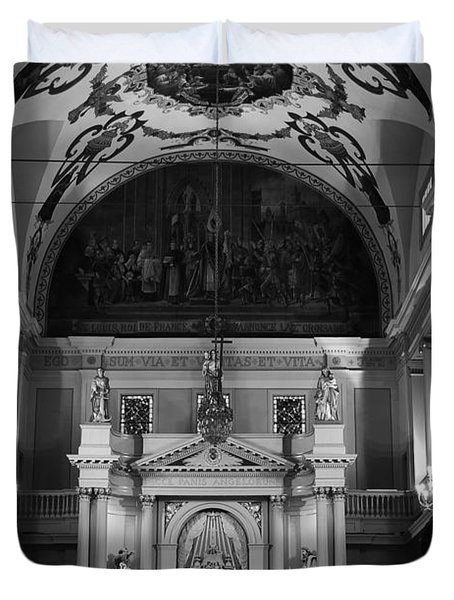 Inside St Louis Cathedral Jackson Square French Quarter New Orleans Black And White Duvet Cover by Shawn O'Brien