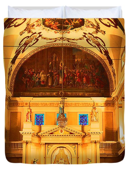 Inside St louis Cathedral Jackson Square French Quarter New Orleans Film Grain Digital Art Duvet Cover by Shawn O'Brien