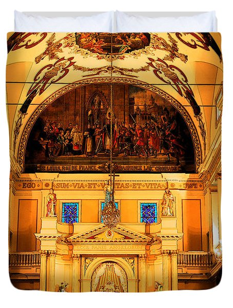 Inside St louis Cathedral Jackson Square French Quarter New Orleans Ink Outlines Digital Art Duvet Cover by Shawn O'Brien