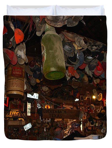 Inside the Bar in Luckenbach TX Duvet Cover by Susanne Van Hulst