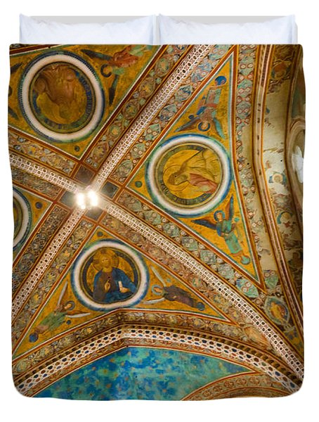 Interior St Francis Basilica Assisi Italy Duvet Cover by Jon Berghoff