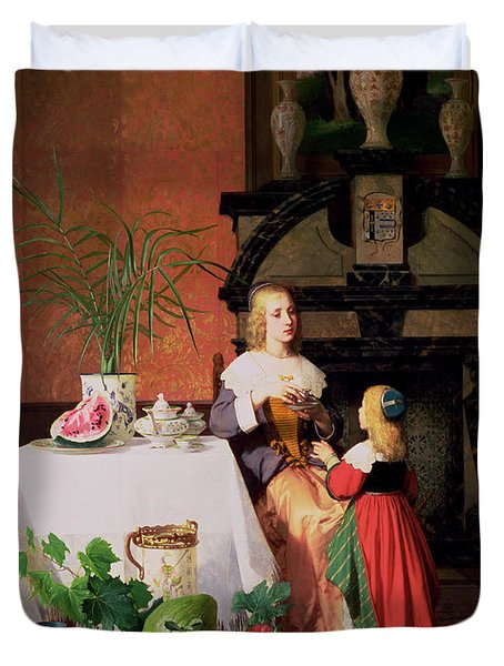 Interior With Figures And Fruit Duvet Cover by David Emil Joseph de Noter