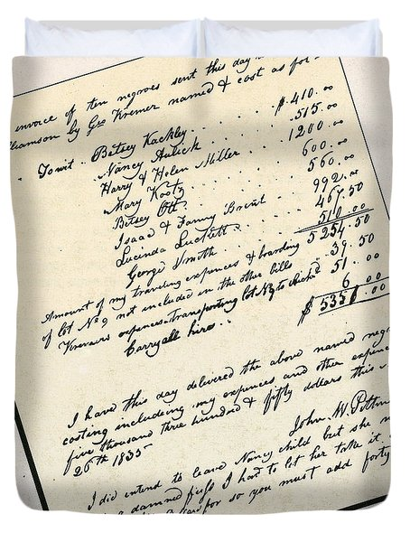 Invoice Of A Sale Of Black Slaves Duvet Cover by Photo Researchers