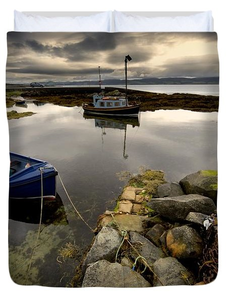 Islay, Scotland Two Boats Anchored By A Duvet Cover by John Short