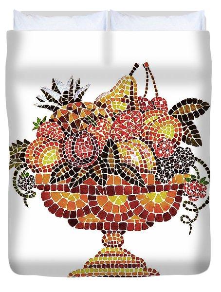 Italian Mosaic Vase With Fruits Duvet Cover by Irina Sztukowski