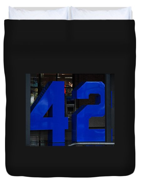 Jackie Robinson 42 Duvet Cover by Rob Hans
