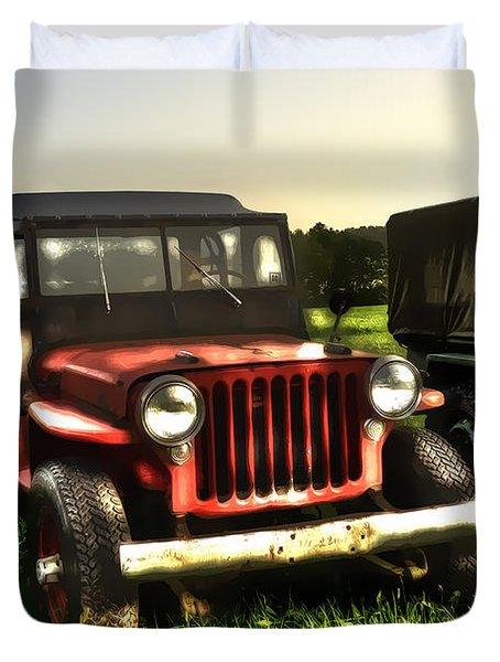 Jeep Seen Better Days Duvet Cover by Dan Friend