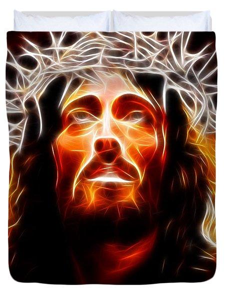 Jesus Christ Our Savior Duvet Cover by Pamela Johnson
