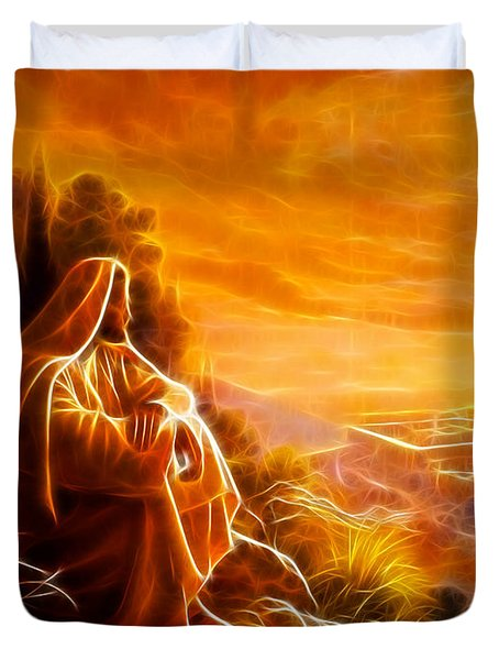 Jesus Thinking About People Duvet Cover by Pamela Johnson