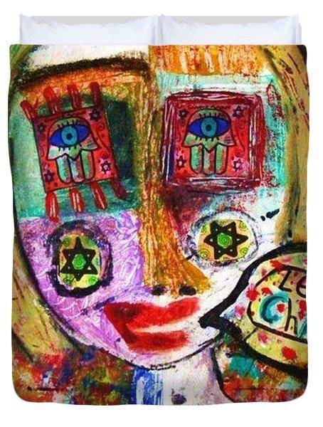 Jewish Angel Duvet Cover by Sandra Silberzweig