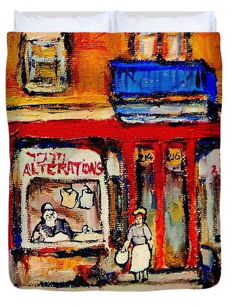 Jewish Montreal Vintage City Scenes De Bullion Street Cobbler Duvet Cover by Carole Spandau