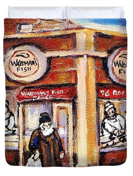 Jewish Montreal Vintage City Scenes Fish Market On Roy Street Duvet Cover by Carole Spandau