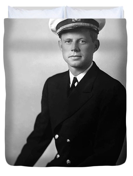 JFK Wearing His Navy Uniform  Duvet Cover by War Is Hell Store