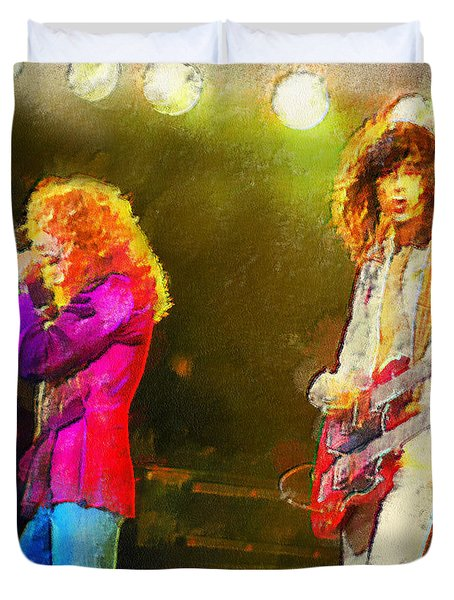 Jimmy Page And Robert Plant Duvet Cover by Riccardo Zullian