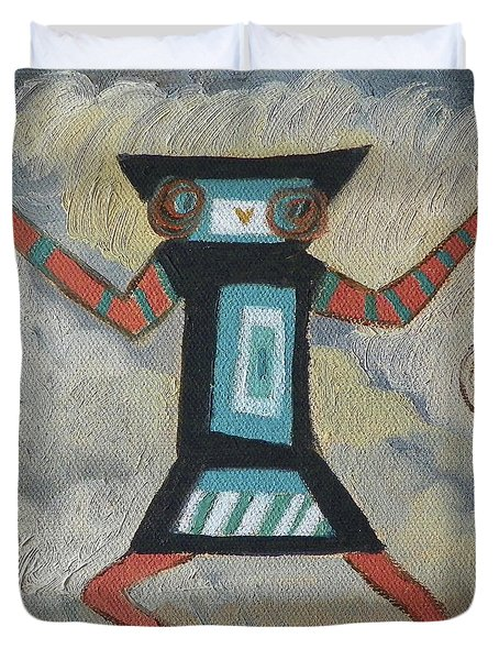 K Is For Kachina Detail From Childhood Quilt Painting Duvet Cover by Dawn Senior-Trask