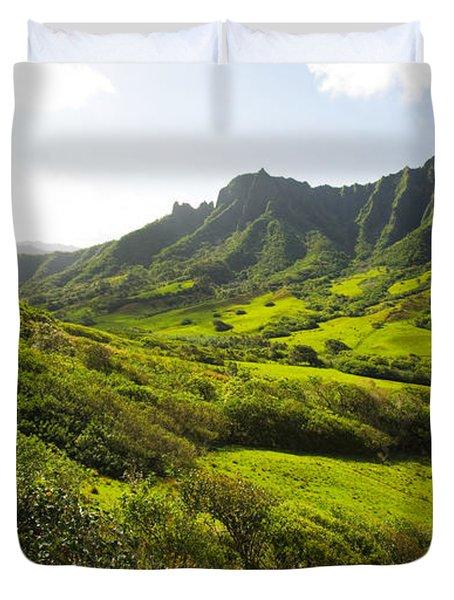 Kaaawa Valley And Kualoa Ranch Duvet Cover by Dana Edmunds - Printscapes