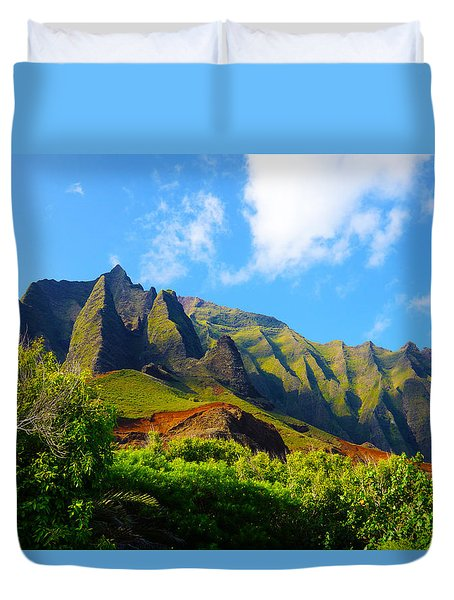 Kalalau Mountains Morning Kauai Duvet Cover by Kevin Smith