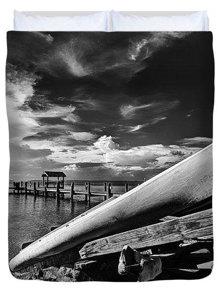 Kayaks Bw Duvet Cover by Bruce Bain