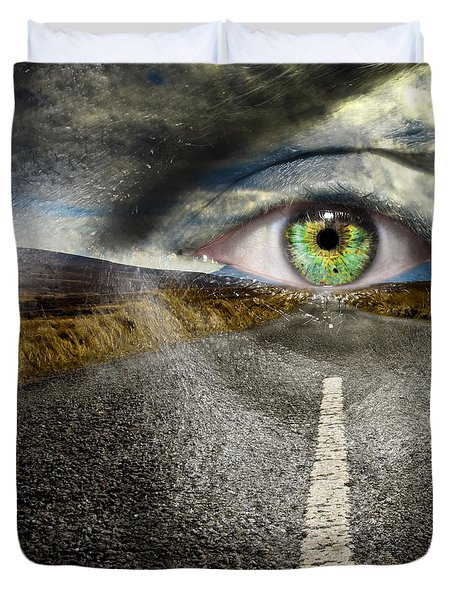 Keep Your Eyes On The Road Duvet Cover by Semmick Photo