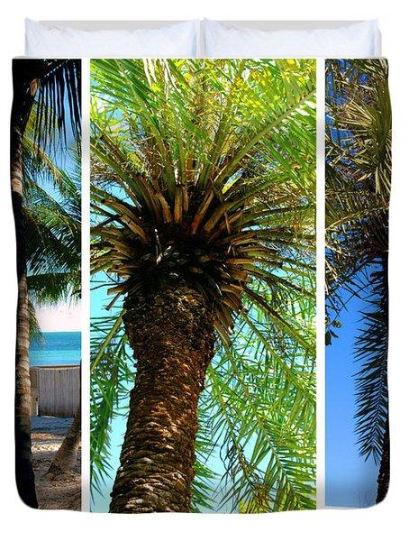Key West Palm Triplets Duvet Cover by Susanne Van Hulst