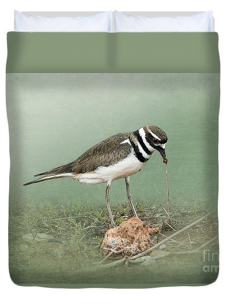 Killdeer And Worm Duvet Cover by Betty LaRue