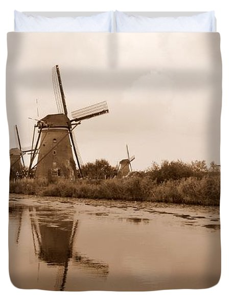 Kinderdijk In Sepia Duvet Cover by Carol Groenen