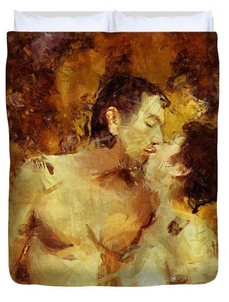 Kiss Me Again Duvet Cover by Kurt Van Wagner
