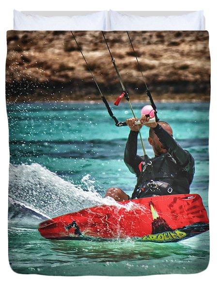 Kitesurfer Duvet Cover by Stelios Kleanthous
