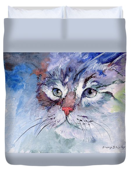 Kitty In Blue Duvet Cover by Sherry Shipley