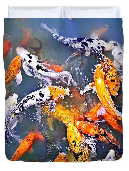 Koi fish in pond Duvet Cover by Elena Elisseeva