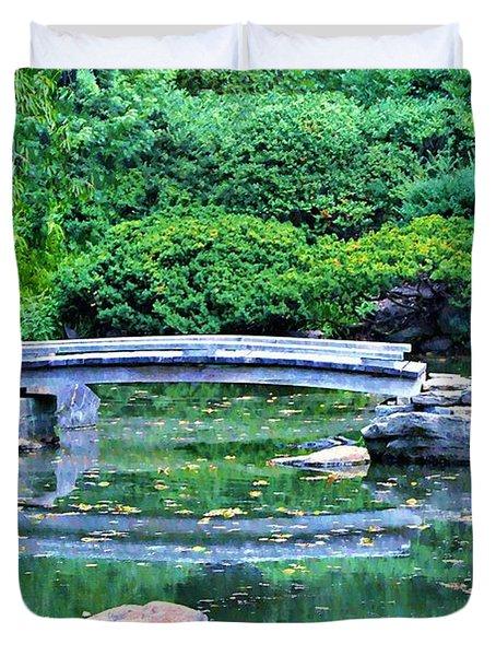 Koi Pond Pondering - Japanese Garden Duvet Cover by Bill Cannon