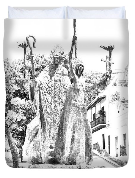 La Rogativa Sculpture Old San Juan Puerto Rico Black and White Line Art Duvet Cover by Shawn O'Brien