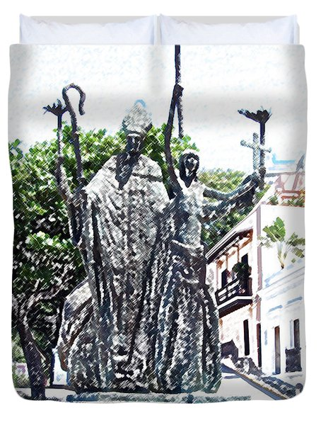 La Rogativa Sculpture Old San Juan Puerto Rico Colored Pencil Duvet Cover by Shawn O'Brien