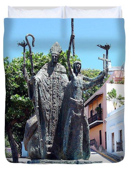 La Rogativa Sculpture Old San Juan Puerto Rico Duvet Cover by Shawn O'Brien