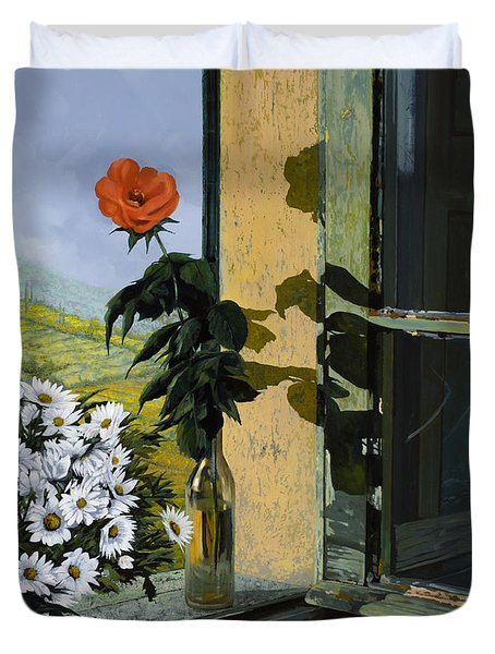 La Rosa Alla Finestra Duvet Cover by Guido Borelli