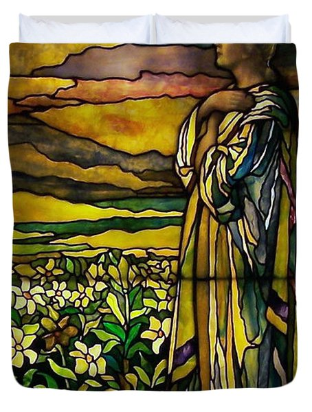 Lady Stained Glass Window Duvet Cover by Thomas Woolworth