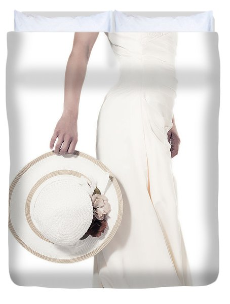 lady with a hat Duvet Cover by Joana Kruse