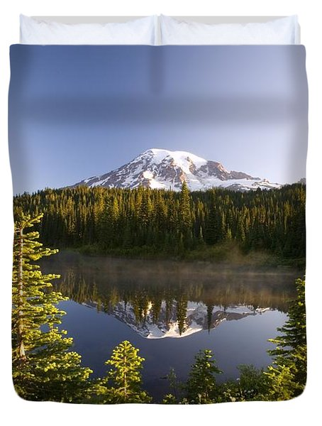 Lake And Mount Rainier, Mount Rainier Duvet Cover by Craig Tuttle