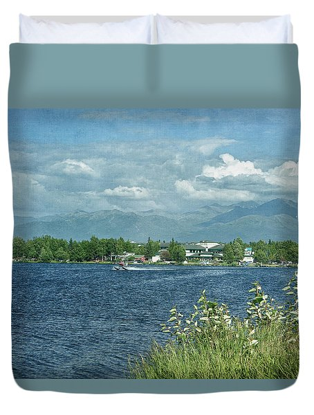 Lake Hood Anchorage Alaska Duvet Cover by Kim Hojnacki