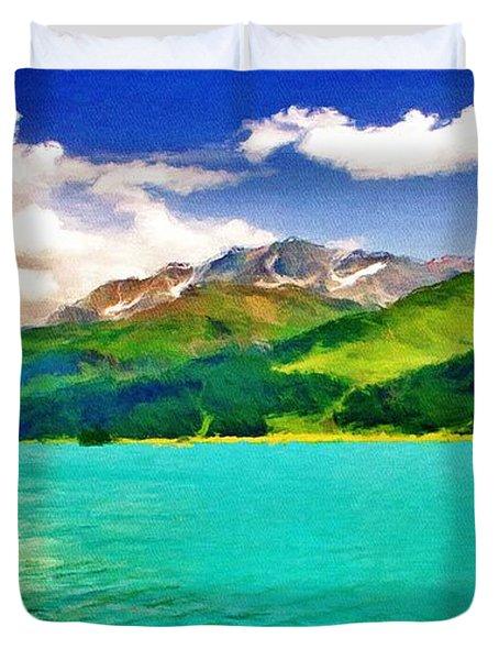 Lake Sils Duvet Cover by Jeff Kolker