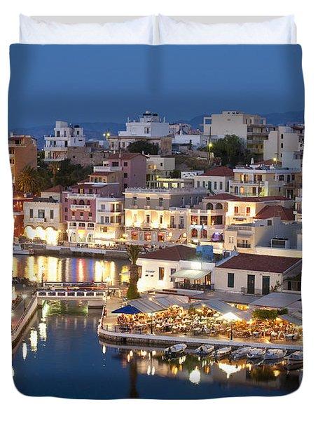 Lake Vouismeni Agios Nikolaos, Crete Duvet Cover by Axiom Photographic