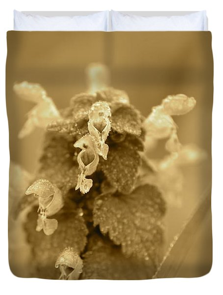 Lamium In Sepia Duvet Cover by JD Grimes