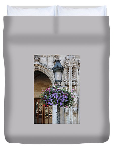 Lamp And Lace At The Grand Place Duvet Cover by Carol Groenen