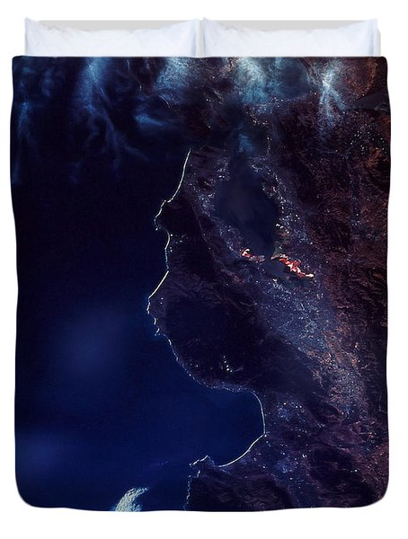 Land And Water From Satellite Duvet Cover by Stocktrek Images
