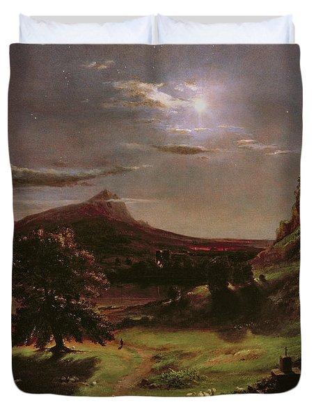 Landscape - Moonlight Duvet Cover by Thomas Cole