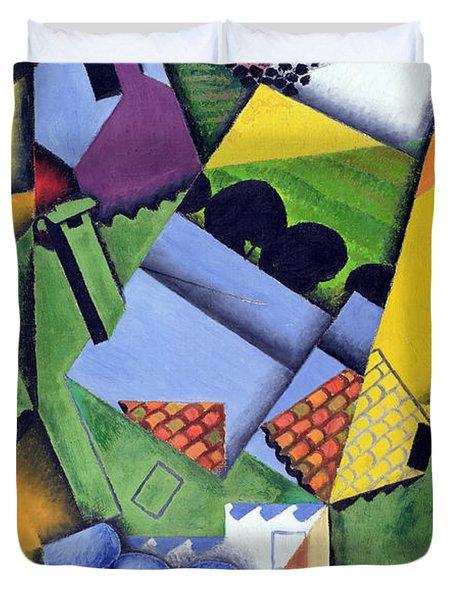 Landscape And Houses At Ceret Duvet Cover by Juan Gris
