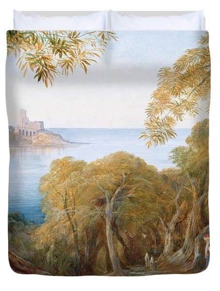Landscape With View Of Lerici Duvet Cover by Edward Lear