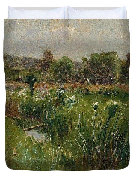 Landscape With Wild Irises Duvet Cover by Bruce Crane