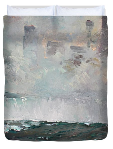 Late Afternoon In Niagara Falls Duvet Cover by Ylli Haruni
